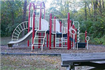 Red and white playground equipment.